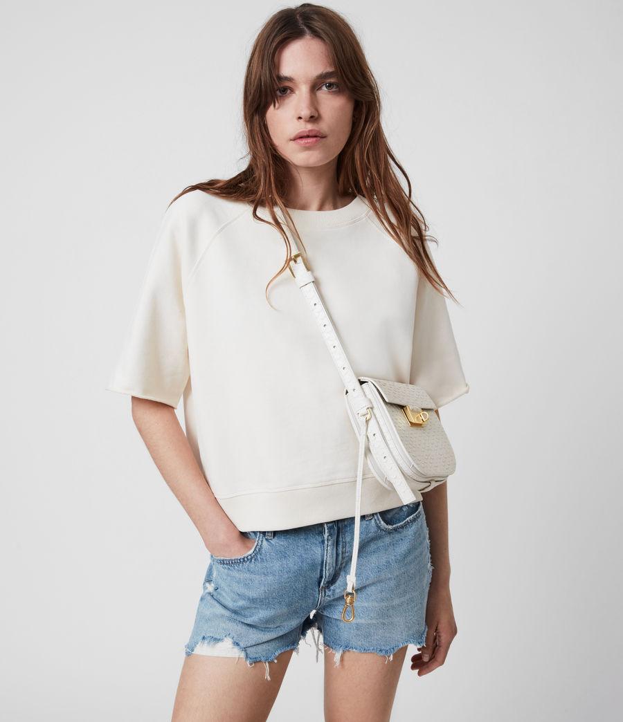 Womens Ida Leather Crossbody Bag (roe_white) - Image 4