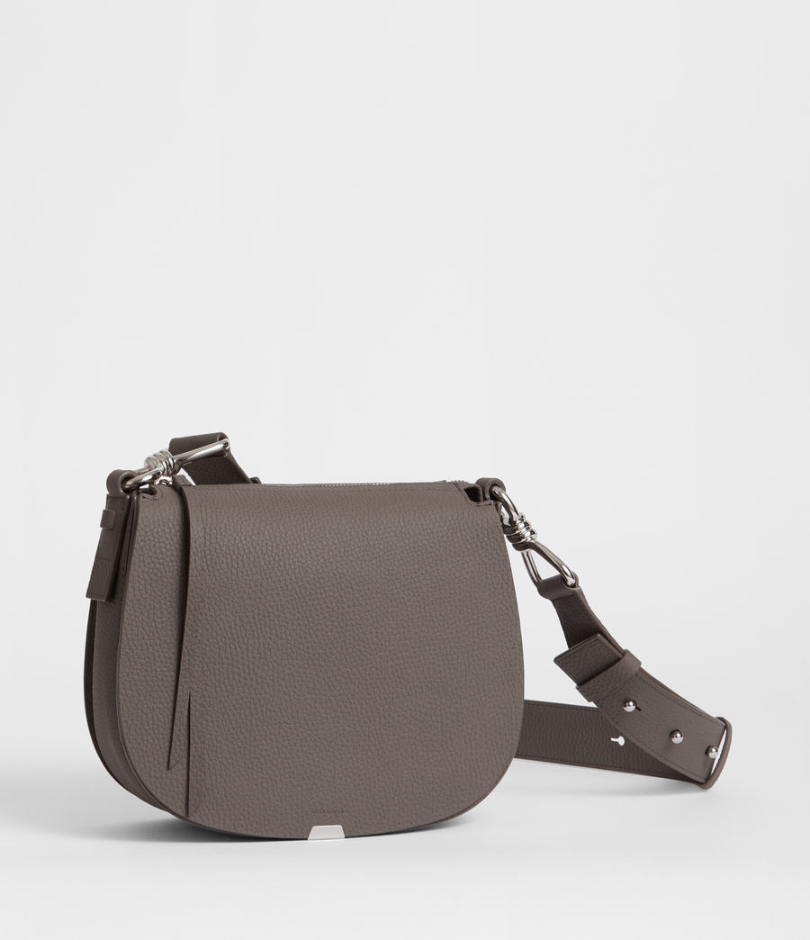 Women's Captain Leather Lea Round Crossbody Bag (storm_grey) - Image 2