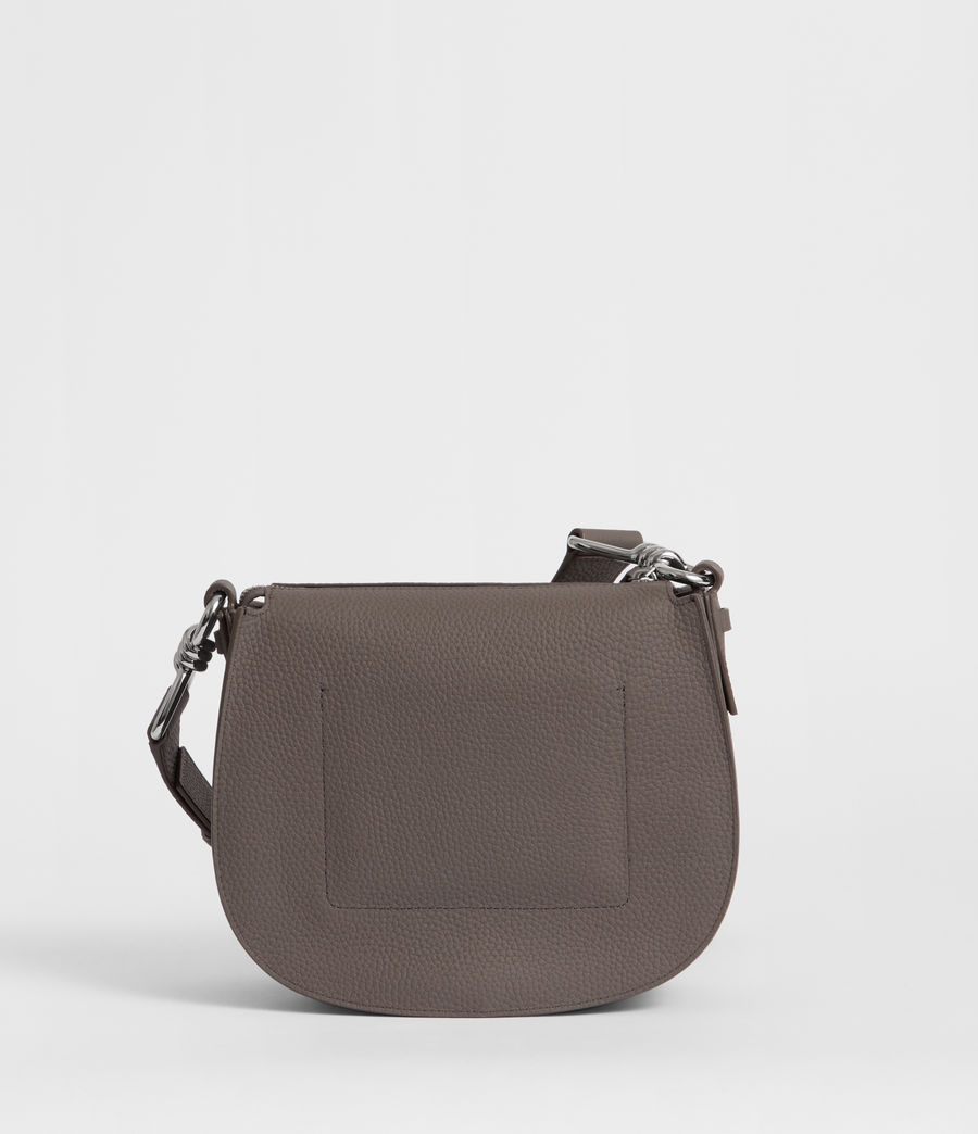 Women's Captain Leather Lea Round Crossbody Bag (storm_grey) - Image 6