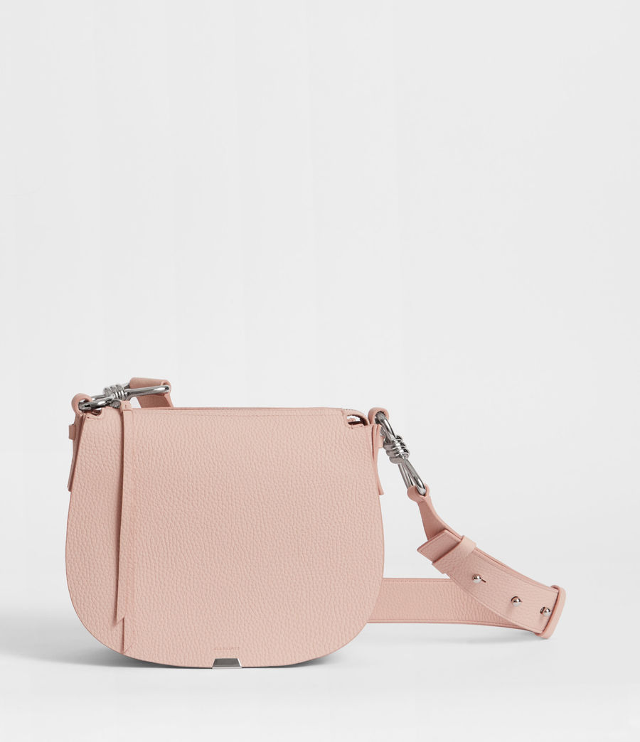 Women's Captain Leather Lea Round Crossbody Bag (peach_pink) - Image 1