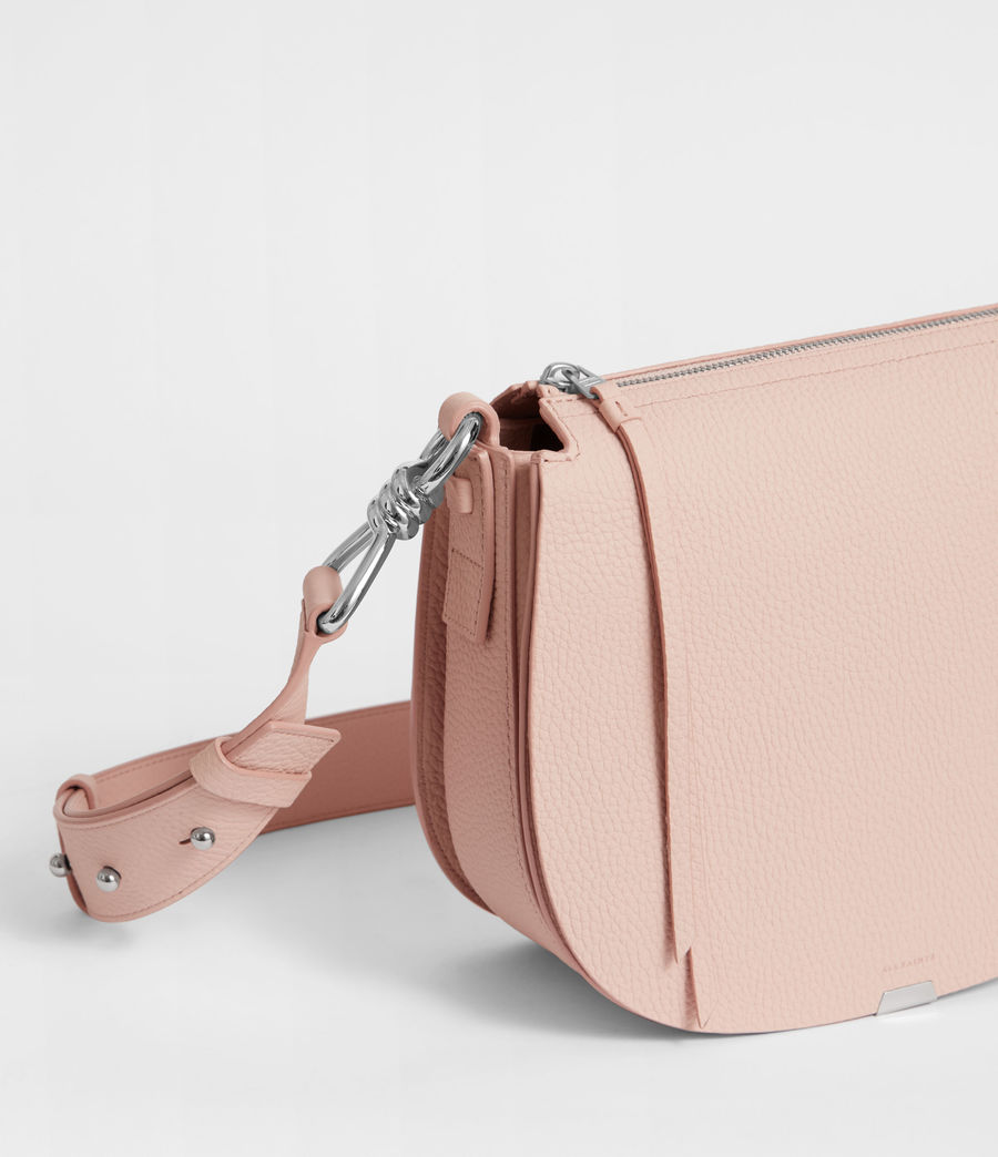 Women's Captain Leather Lea Round Crossbody Bag (peach_pink) - Image 3
