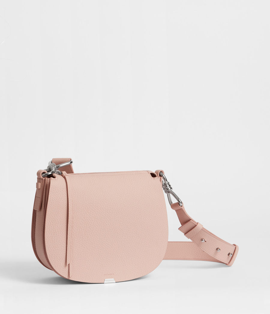 Women's Captain Leather Lea Round Crossbody Bag (peach_pink) - Image 4