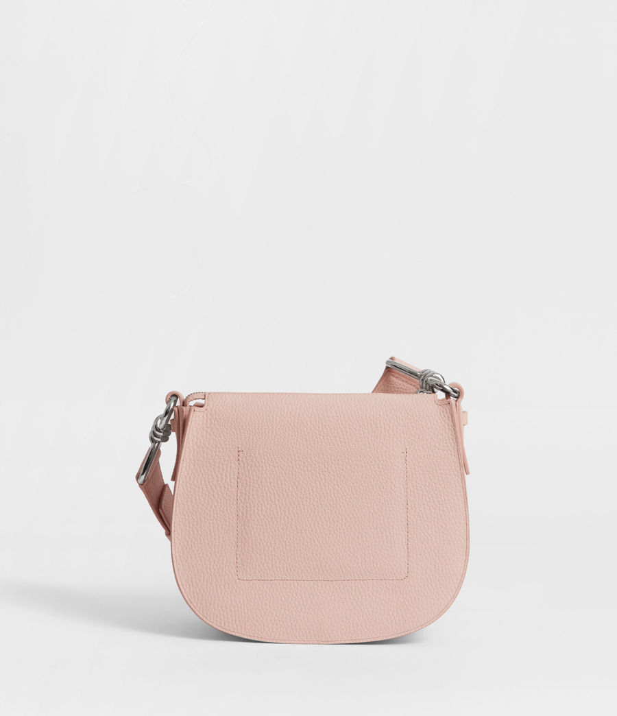 Women's Captain Leather Lea Round Crossbody Bag (peach_pink) - Image 6