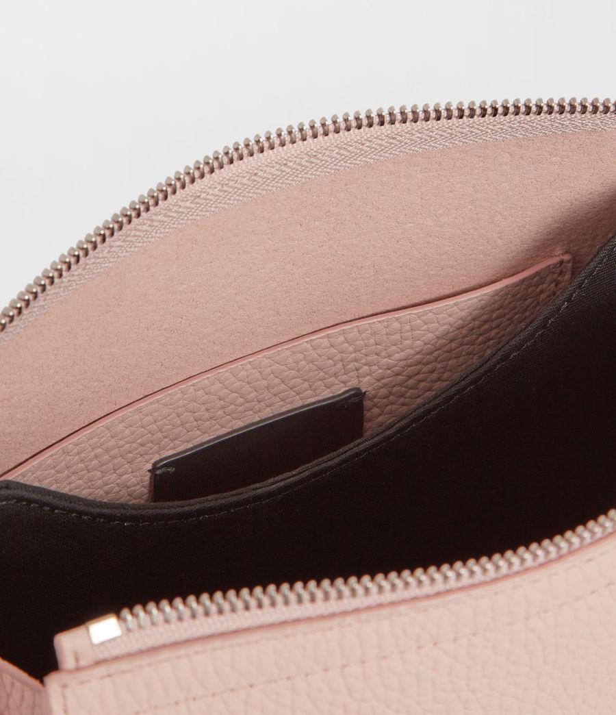 Womens Captain Leather Lea Round Crossbody Bag (peach_pink) - Image 7