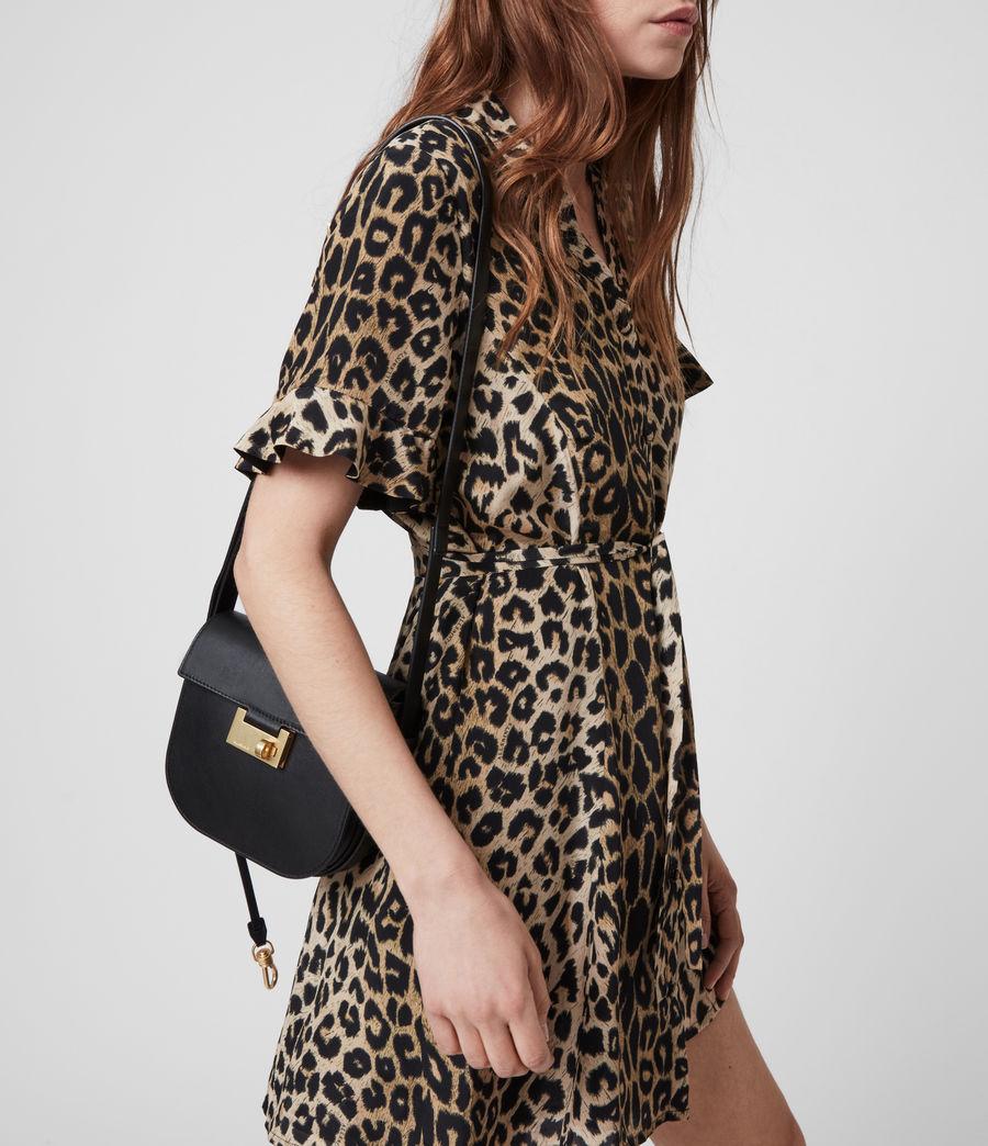 Women's Ida Leather Crossbody Bag (black) - Image 4