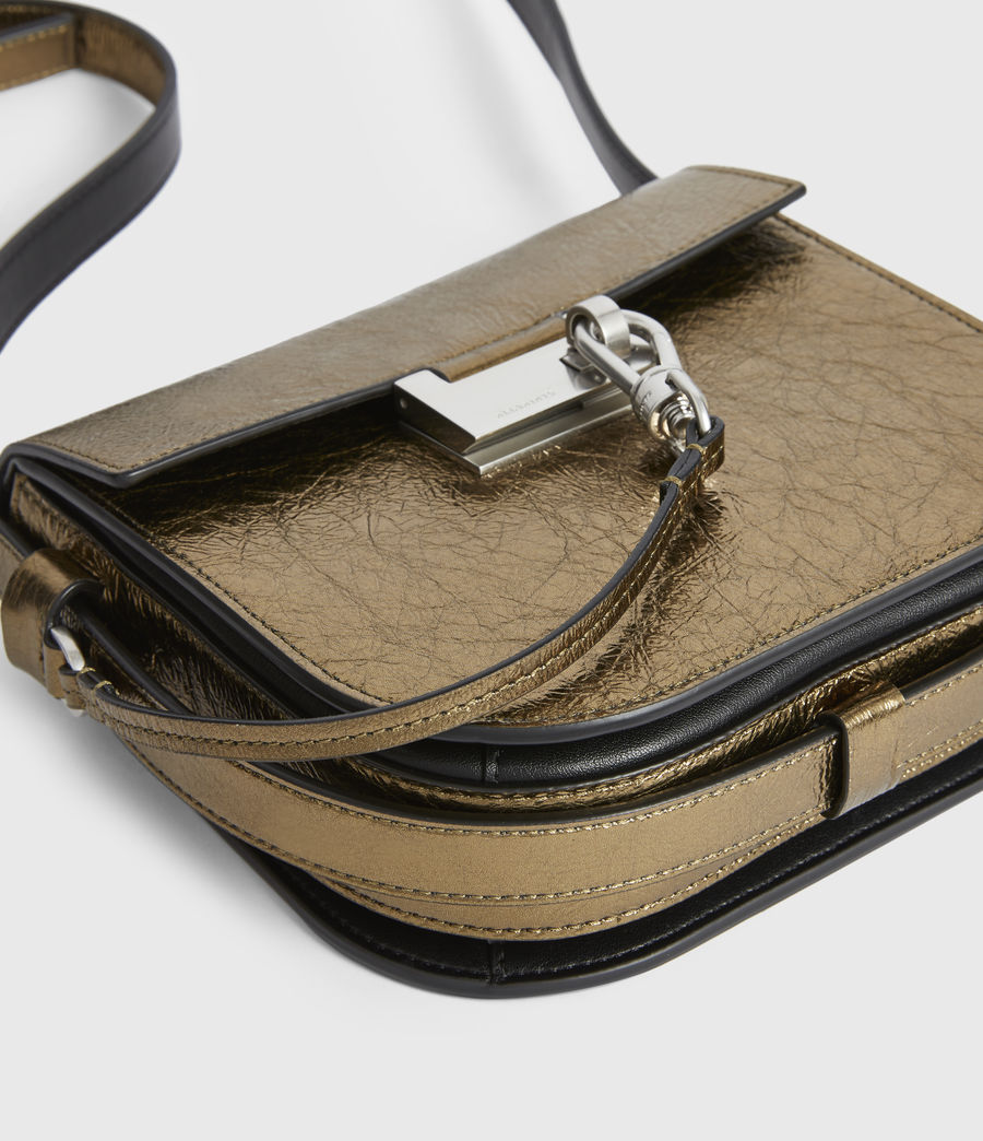 Womens Ida Leather Crossbody Bag (gold) - Image 5