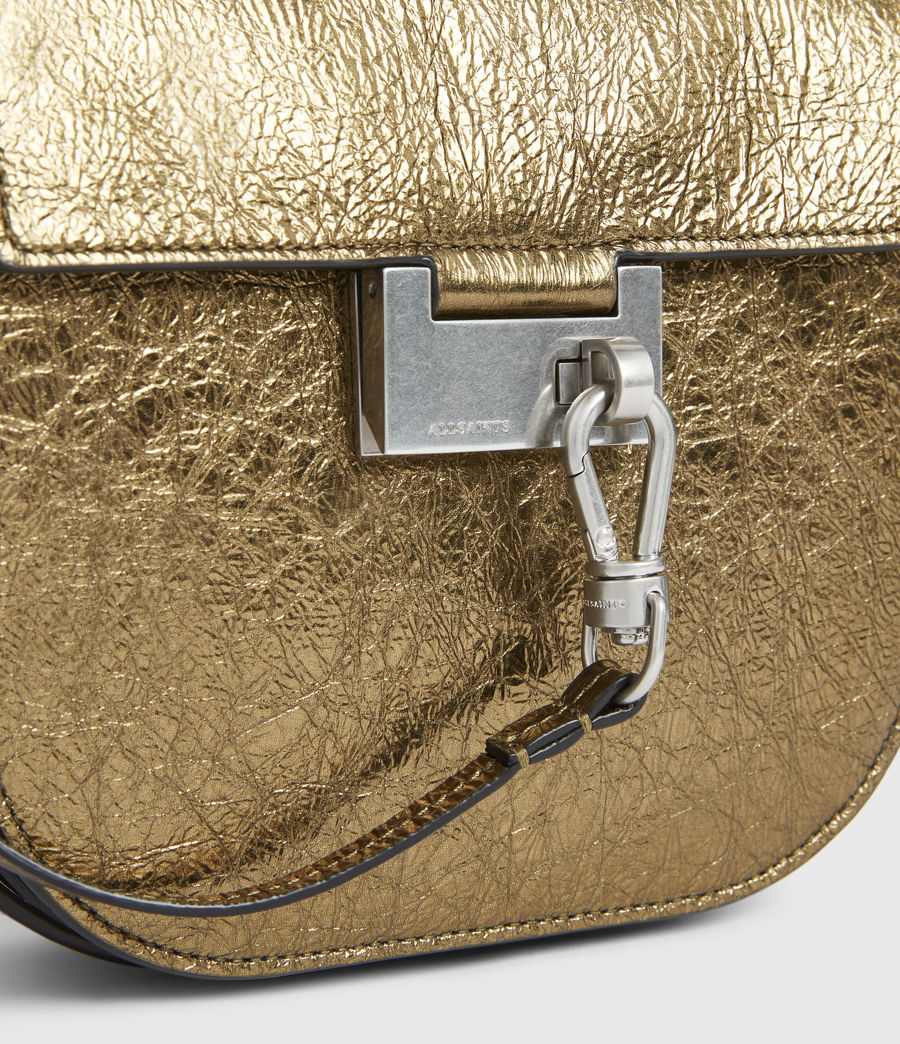 Womens Ida Leather Crossbody Bag (gold) - Image 6