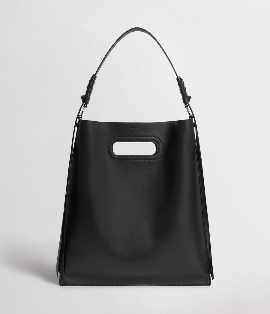 Womens Voltaire Leather Flat Hobo Bag (black) - Image 1