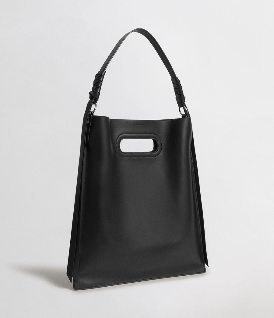 Womens Voltaire Leather Flat Hobo Bag (black) - Image 4