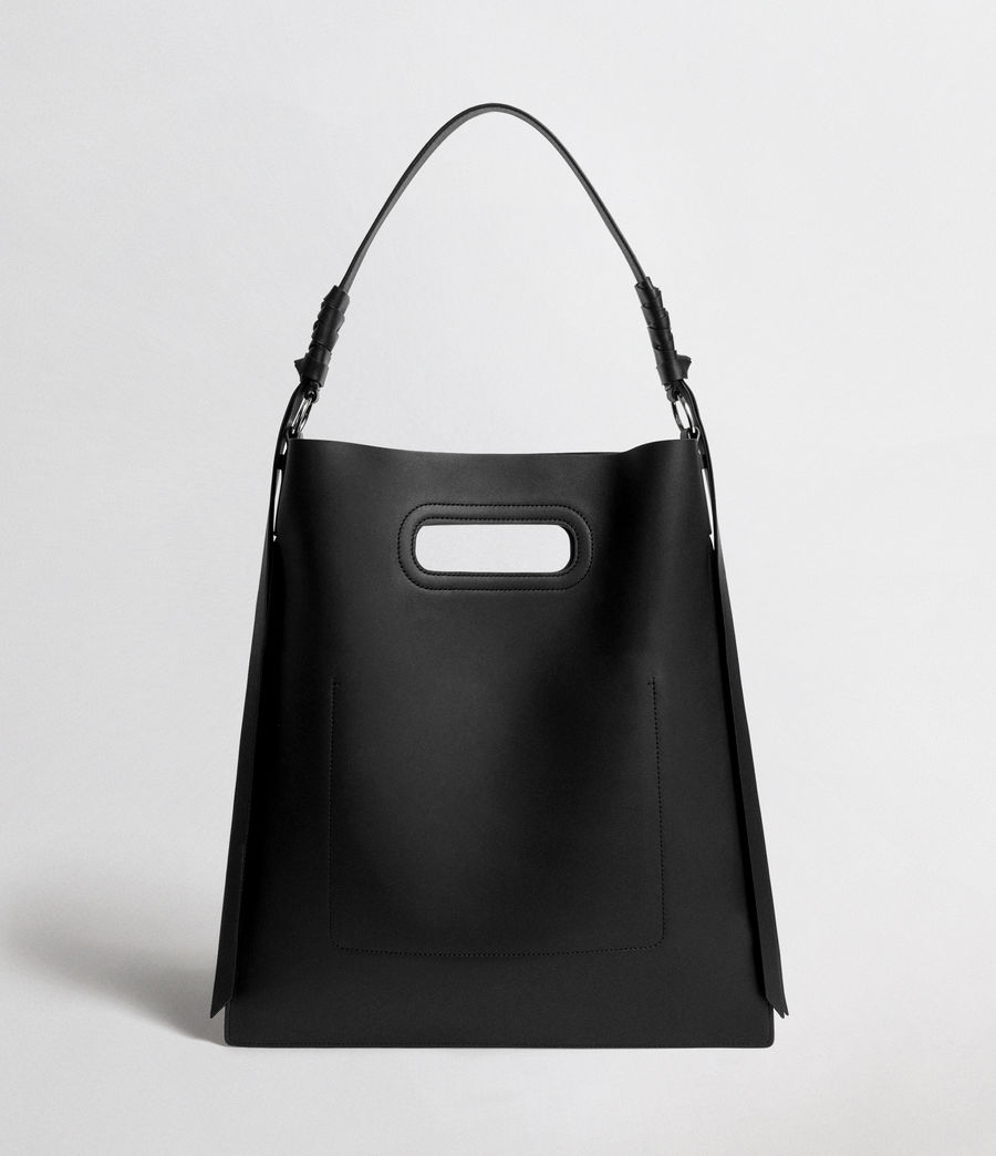 Womens Voltaire Leather Flat Hobo Bag (black) - Image 6