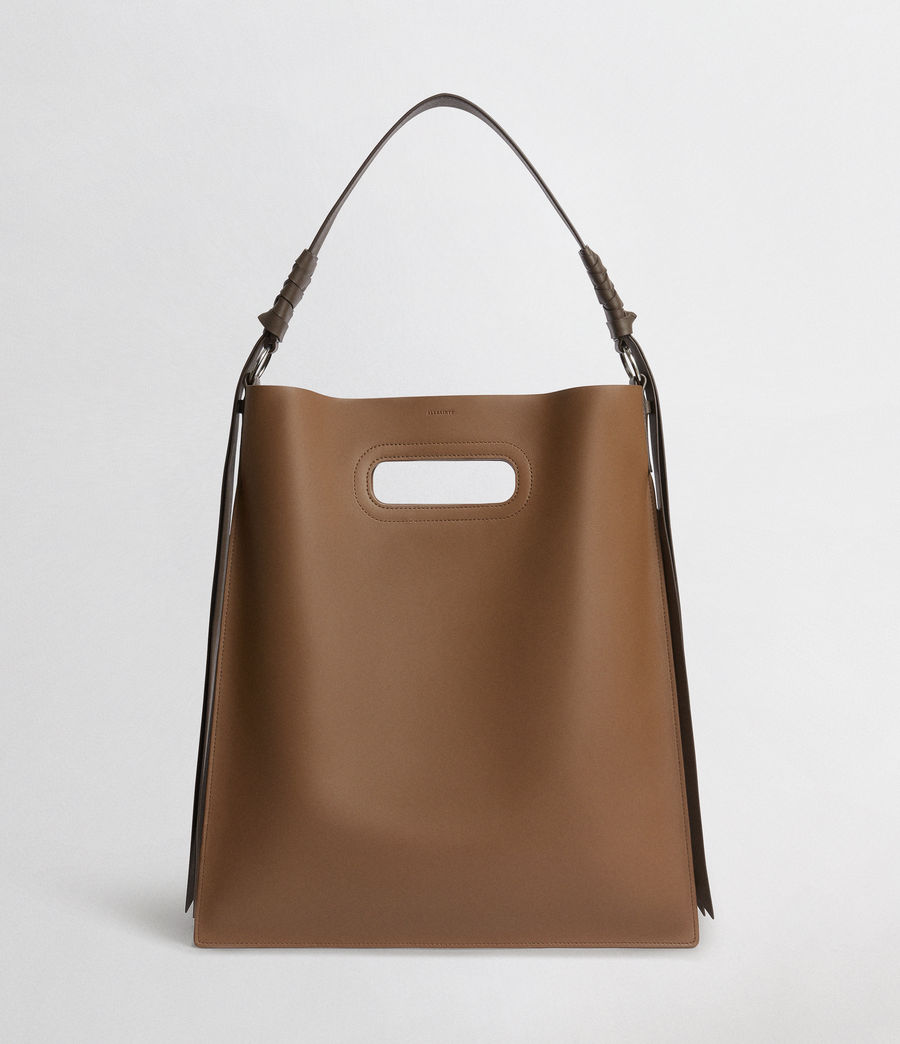 Donne Voltaire Leather Flat Hobo Bag (luggage_chocolate) - Image 1