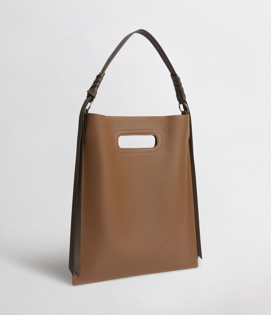 Donne Voltaire Leather Flat Hobo Bag (luggage_chocolate) - Image 3
