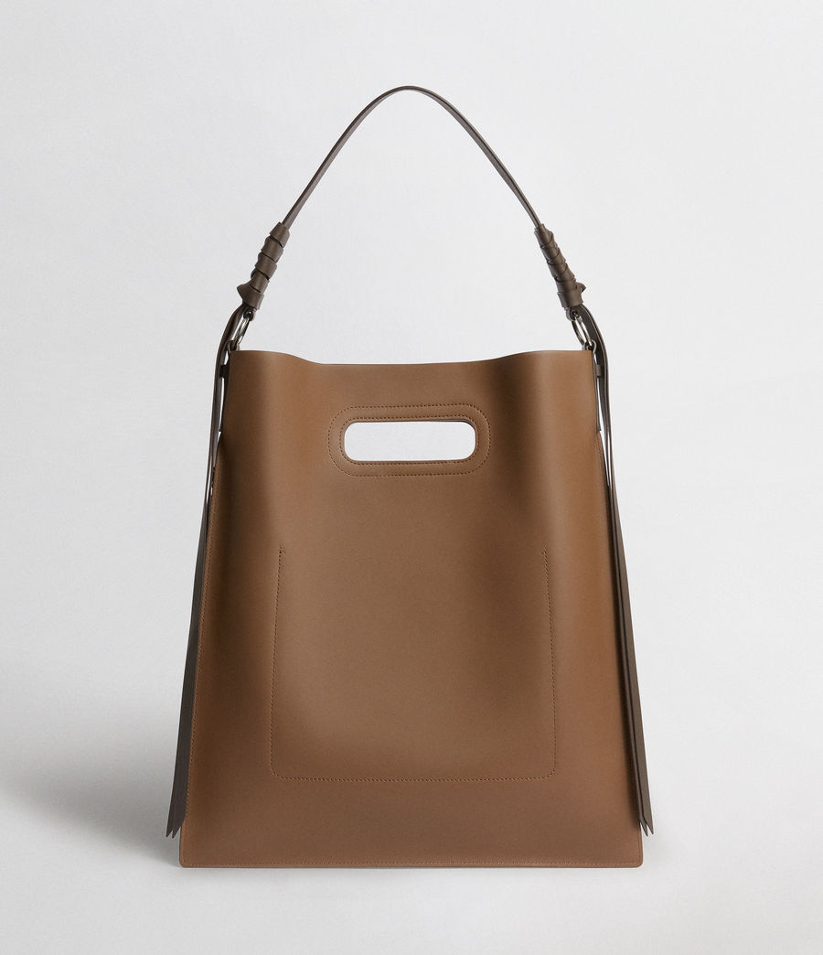 Donne Voltaire Leather Flat Hobo Bag (luggage_chocolate) - Image 5