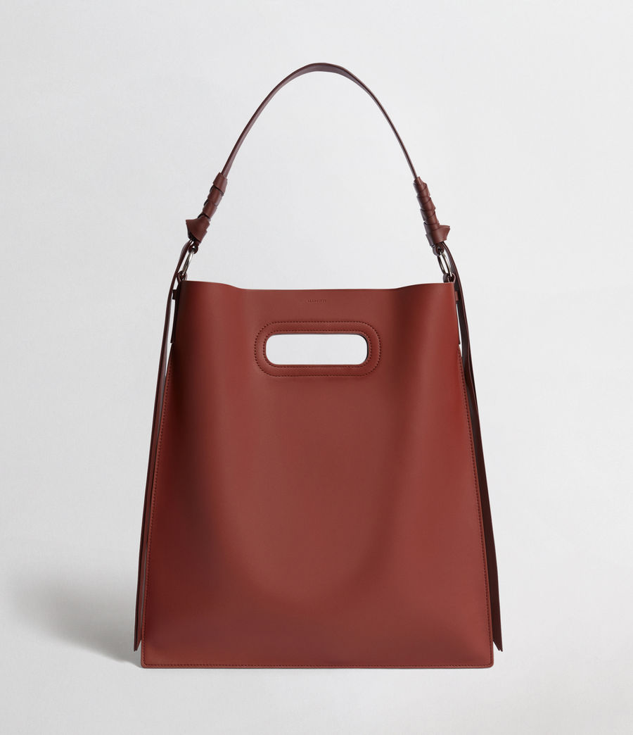 Women's Voltaire Flat Leather Hobo Bag (beed_red_pt_bungdy) - Image 1