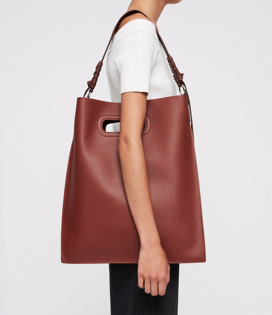 Women's Voltaire Flat Leather Hobo Bag (beed_red_pt_bungdy) - Image 2