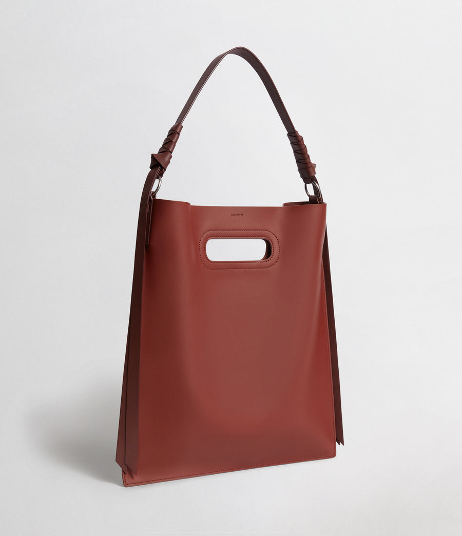 Women's Voltaire Flat Leather Hobo Bag (beed_red_pt_bungdy) - Image 4