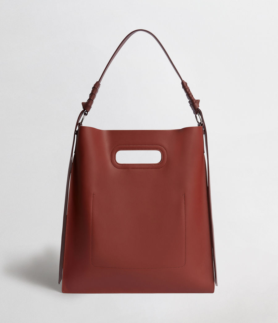 Women's Voltaire Flat Leather Hobo Bag (beed_red_pt_bungdy) - Image 5