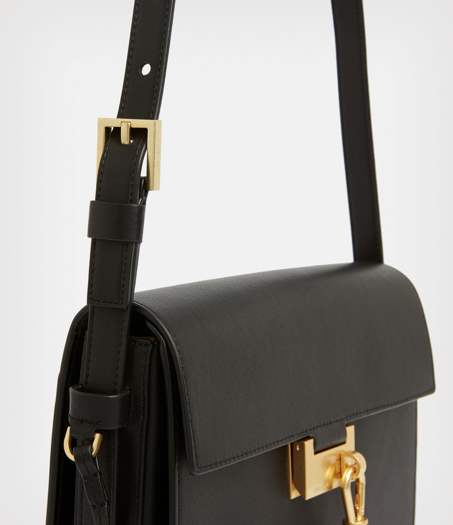 Women's Nicolette Leather Shoulder Bag (black) - Image 6