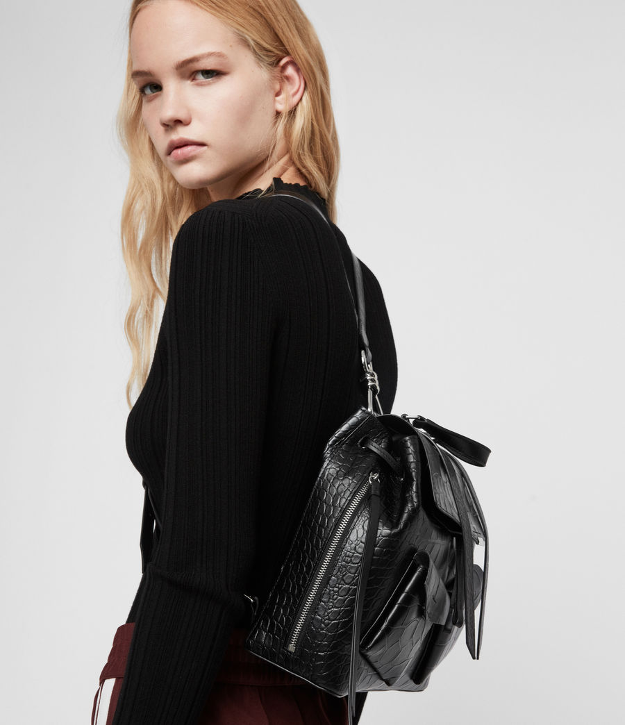 Womens Polly Leather Backpack (black) - Image 2