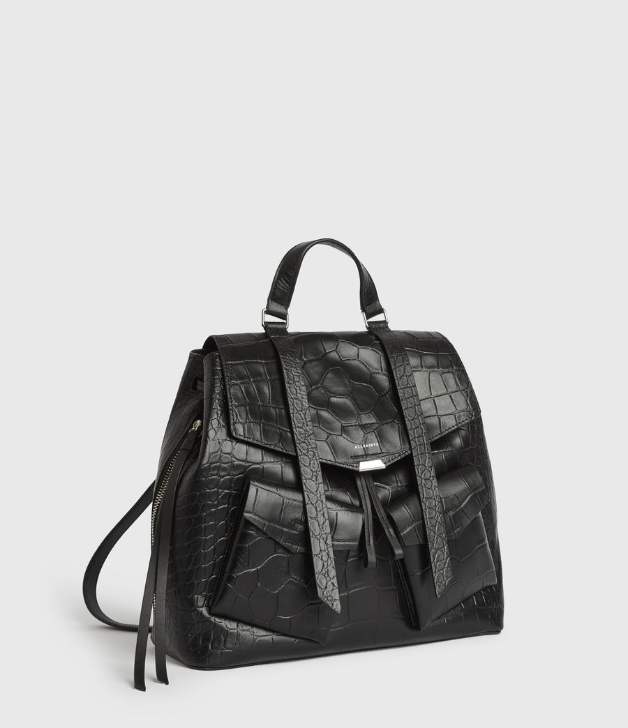 Womens Polly Leather Backpack (black) - Image 3