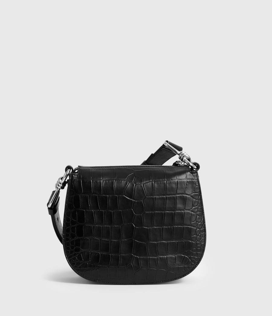 Womens Polly Round Leather Crossbody Bag (black) - Image 6