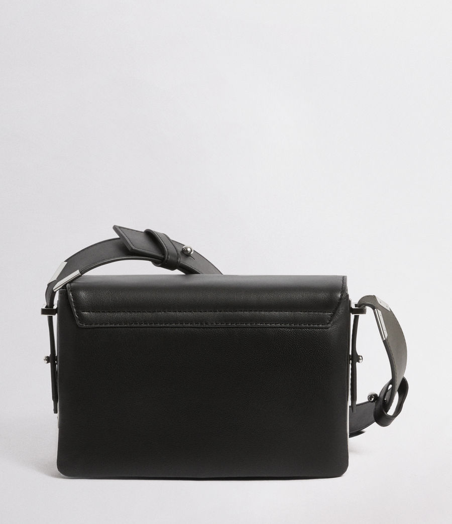 Womens Versailles Leather Shoulder Bag (black_dk_khaki) - Image 8