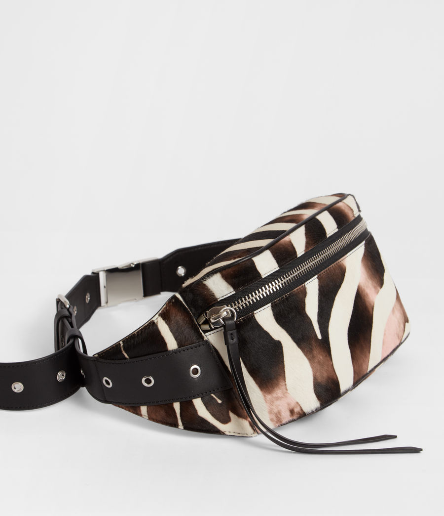 Women's Captain Leather Zebra Bumbag (black) - Image 2