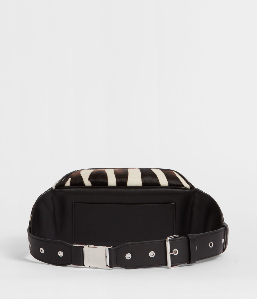 Women's Captain Leather Zebra Bumbag (black) - Image 4