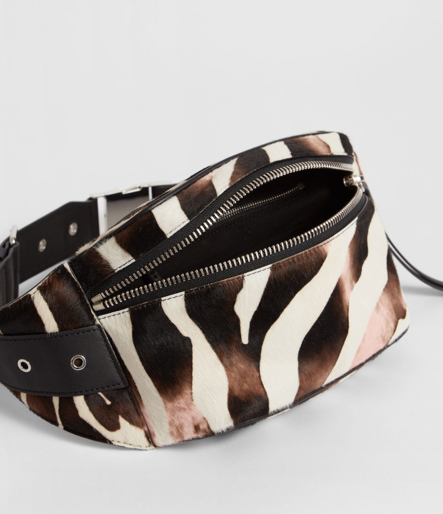 Women's Captain Leather Zebra Bumbag (black) - Image 5