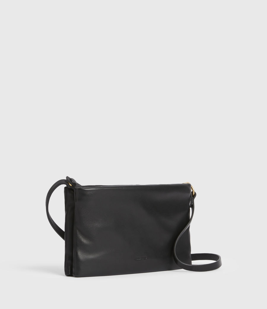 Womens Mila Leather Double Pouch Bag (black) - Image 4