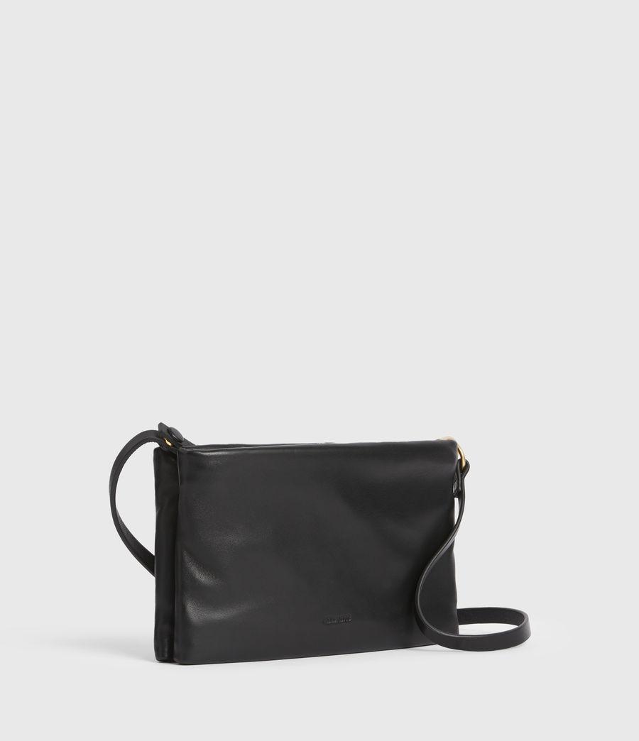 Women's Mila Leather Double Pouch Bag (black) - Image 4