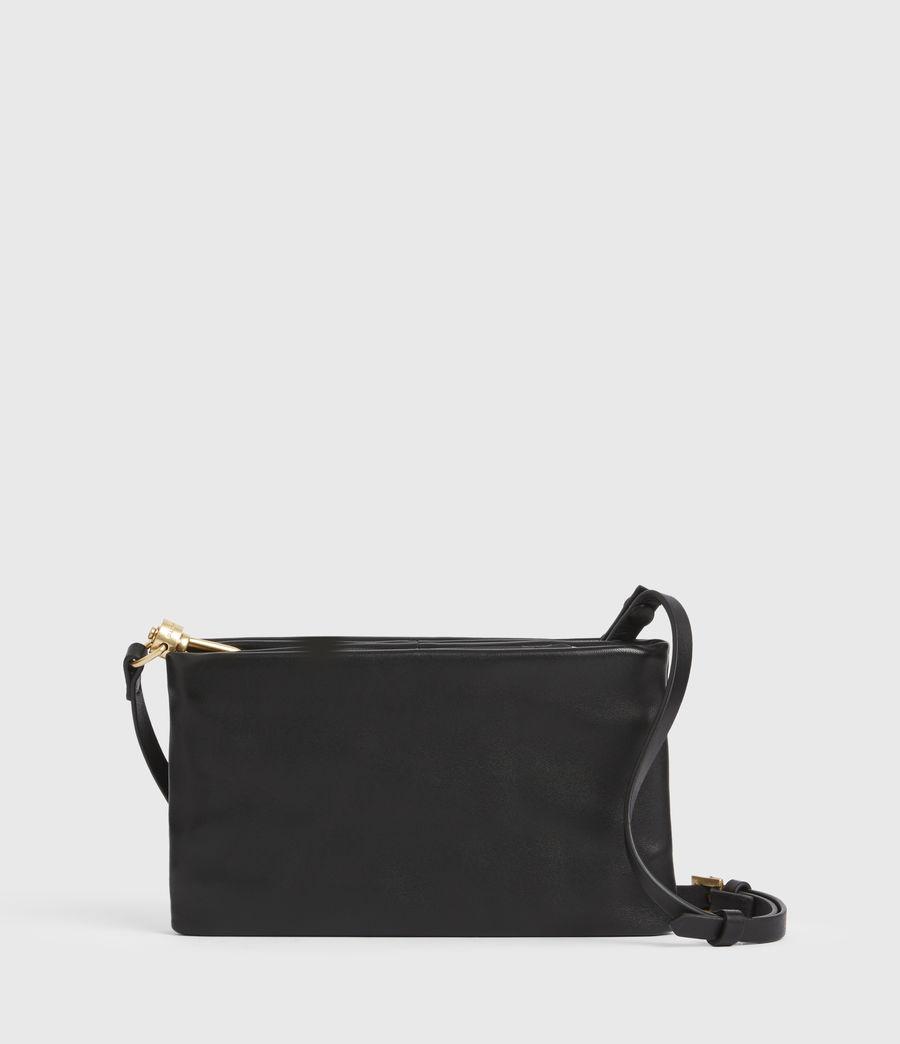 Women's Mila Leather Double Pouch Bag (black) - Image 7