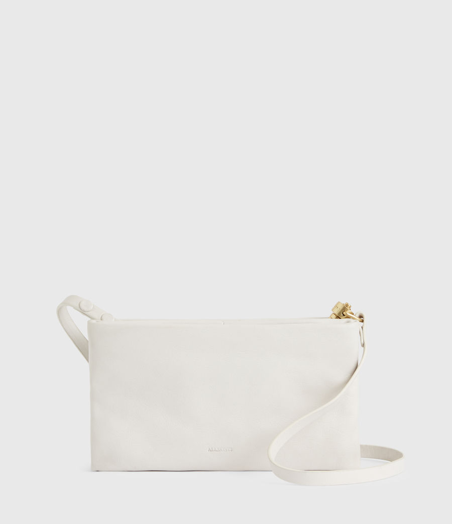 Womens Mila Leather Double Pouch Bag (roe_white) - Image 2