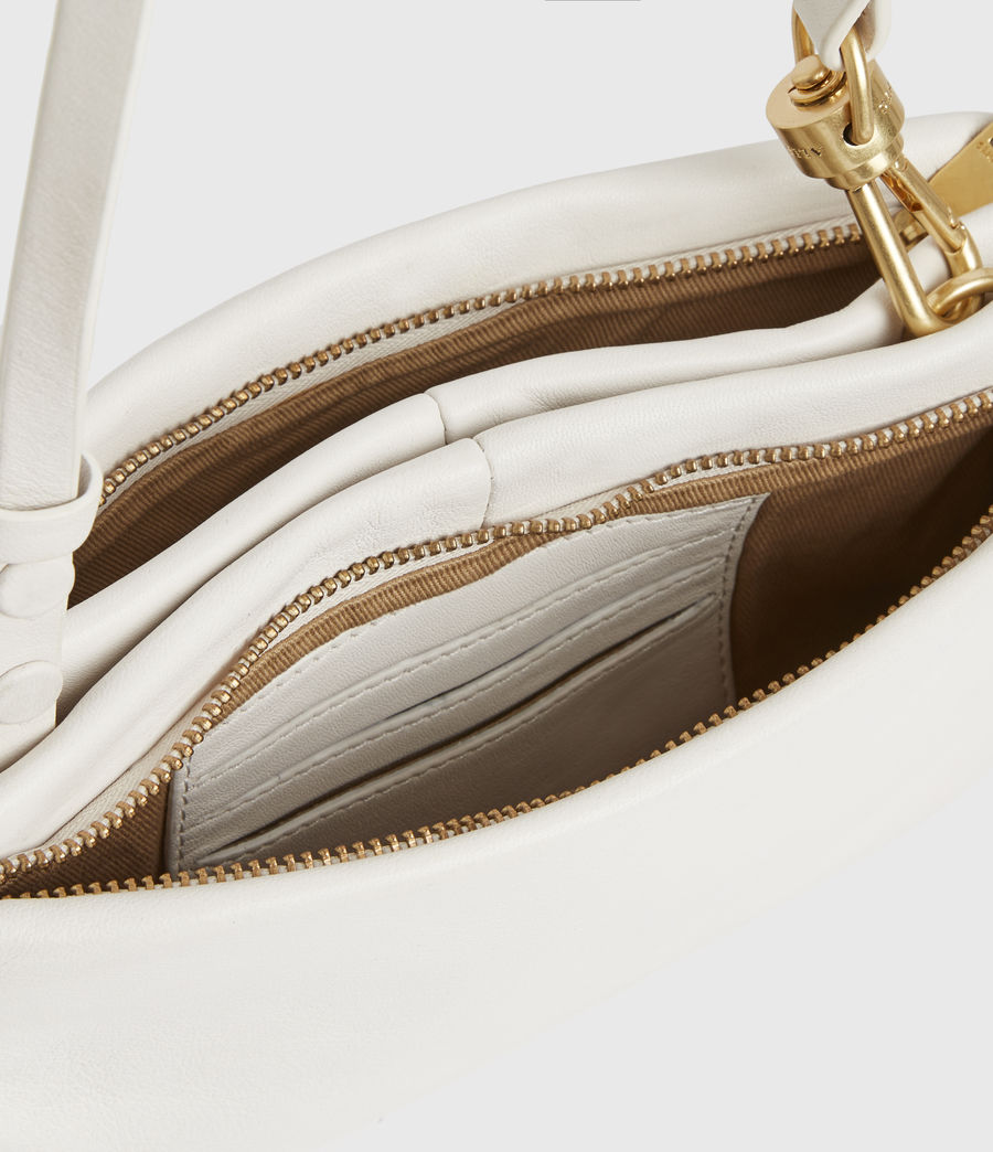 Womens Mila Leather Double Pouch Bag (roe_white) - Image 3