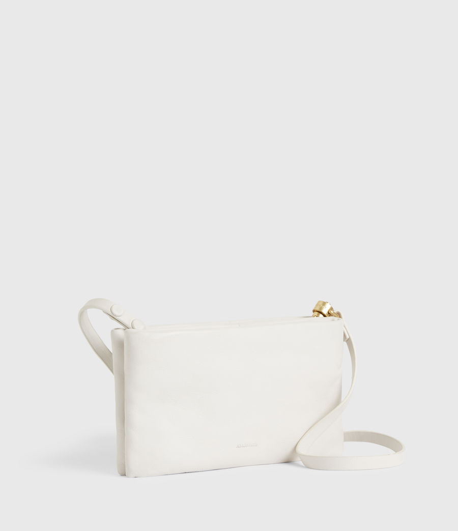 Womens Mila Leather Double Pouch Bag (roe_white) - Image 4