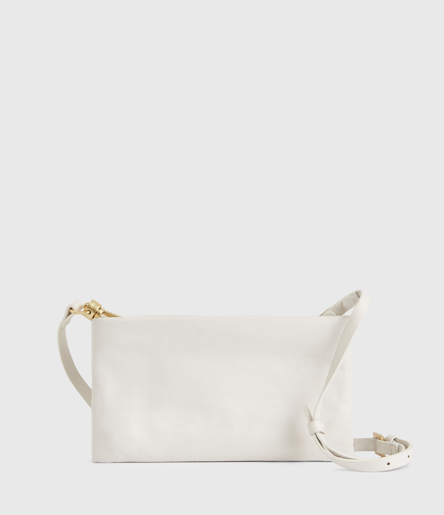 Womens Mila Leather Double Pouch Bag (roe_white) - Image 7