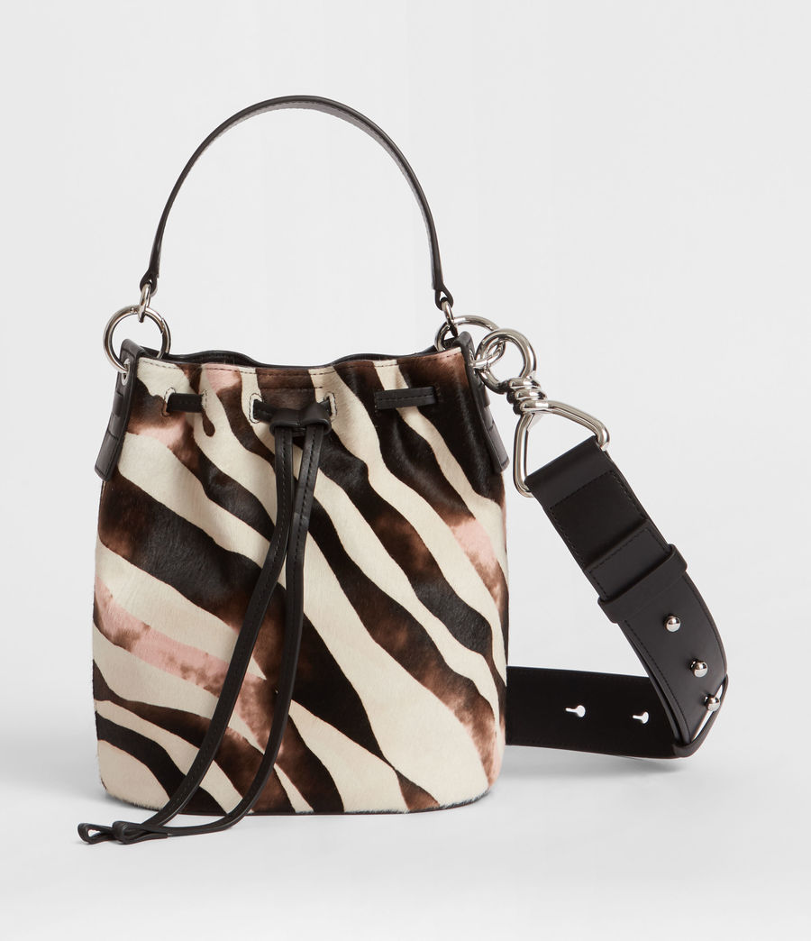Womens Captain Leather Zebra Small Bucket Bag (black) - Image 1