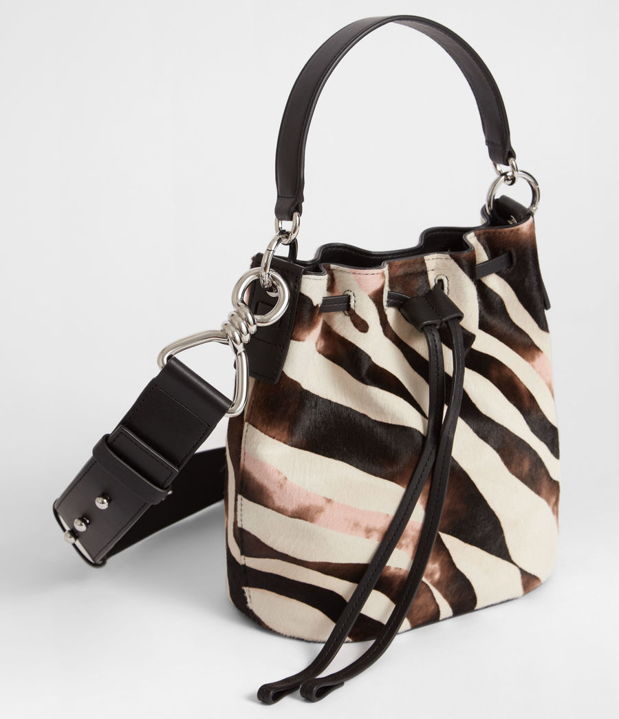 Womens Captain Leather Zebra Small Bucket Bag (black) - Image 3