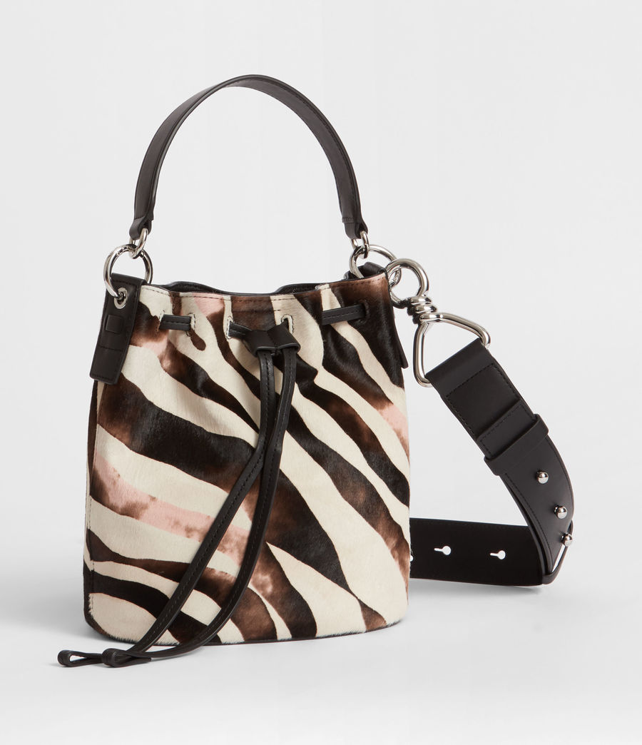 Womens Captain Leather Zebra Small Bucket Bag (black) - Image 4