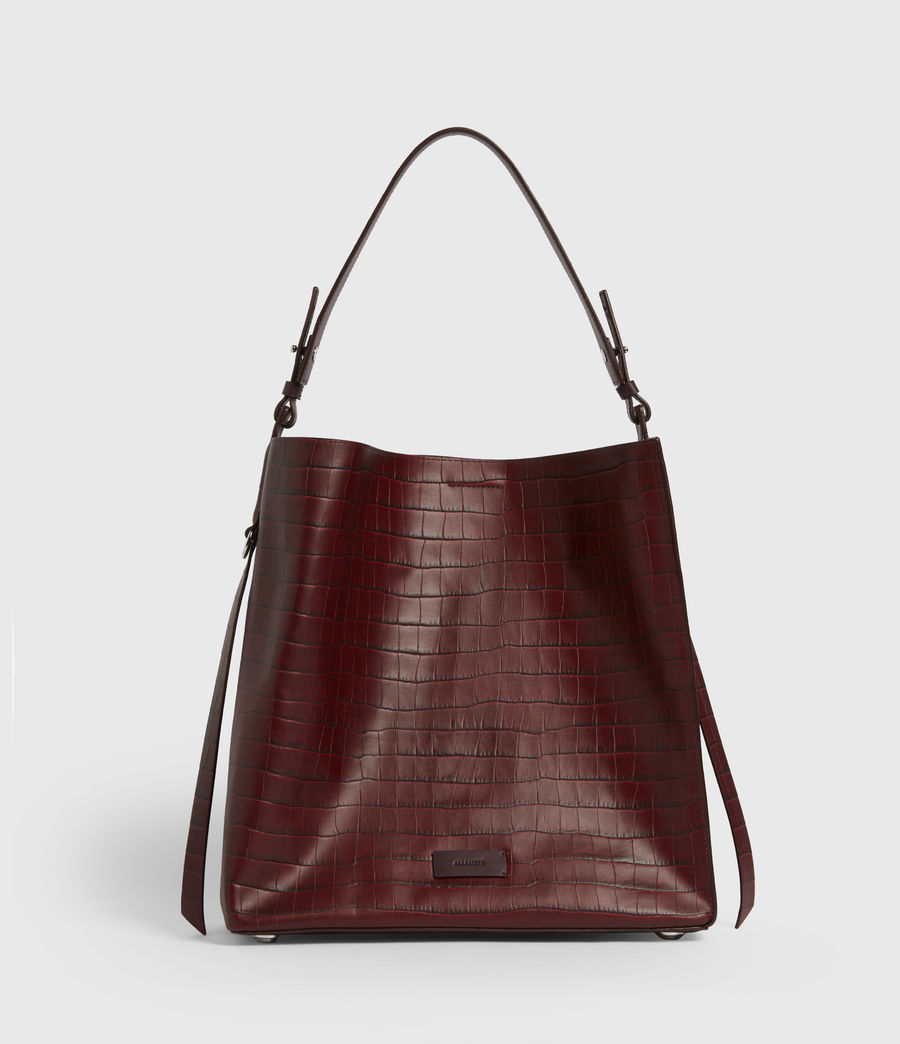 Womens Polly Croc Leather North South Tote Bag (red) - Image 1