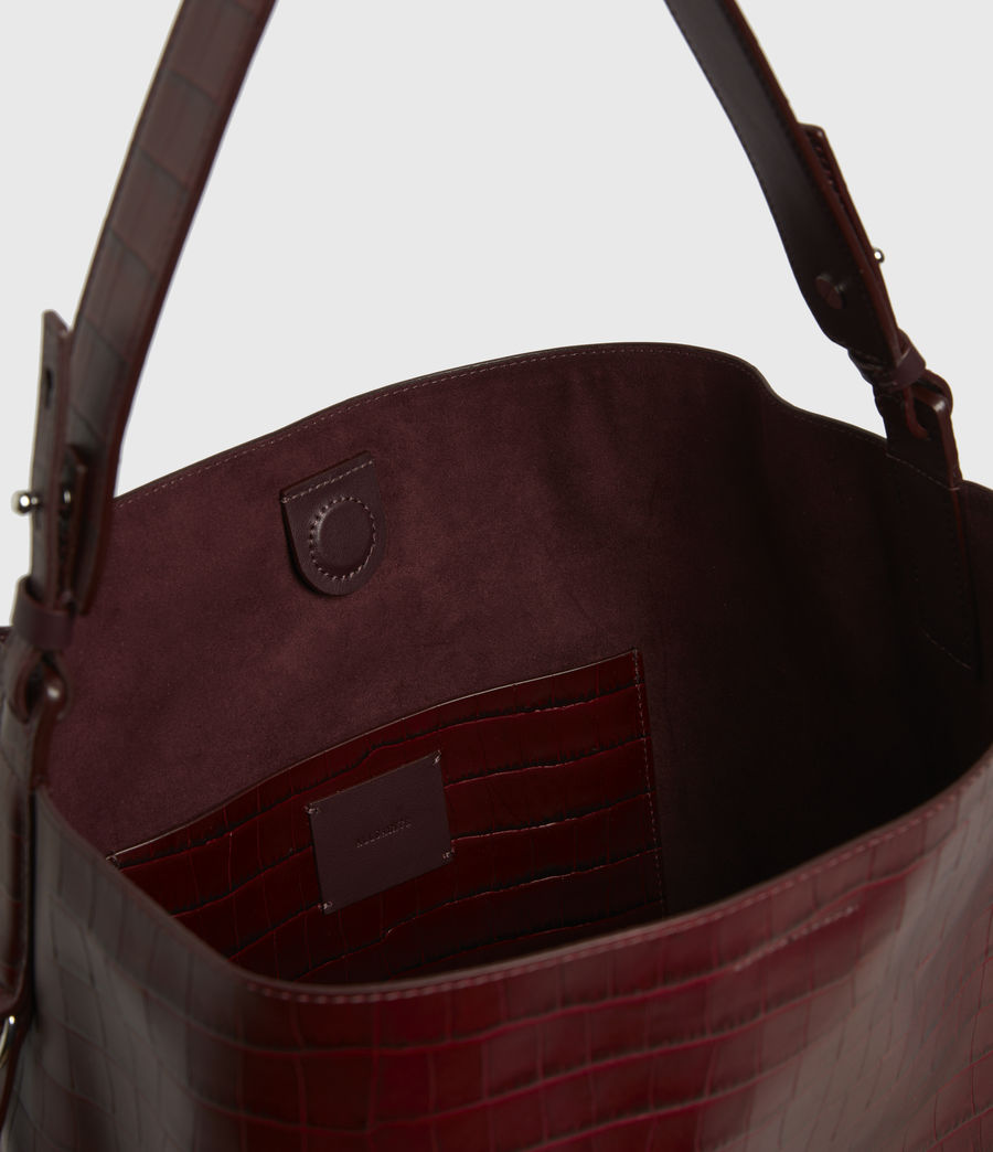 Womens Polly Croc Leather North South Tote Bag (red) - Image 2