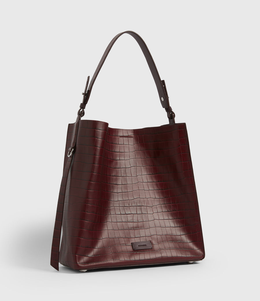 Womens Polly Croc Leather North South Tote Bag (red) - Image 3