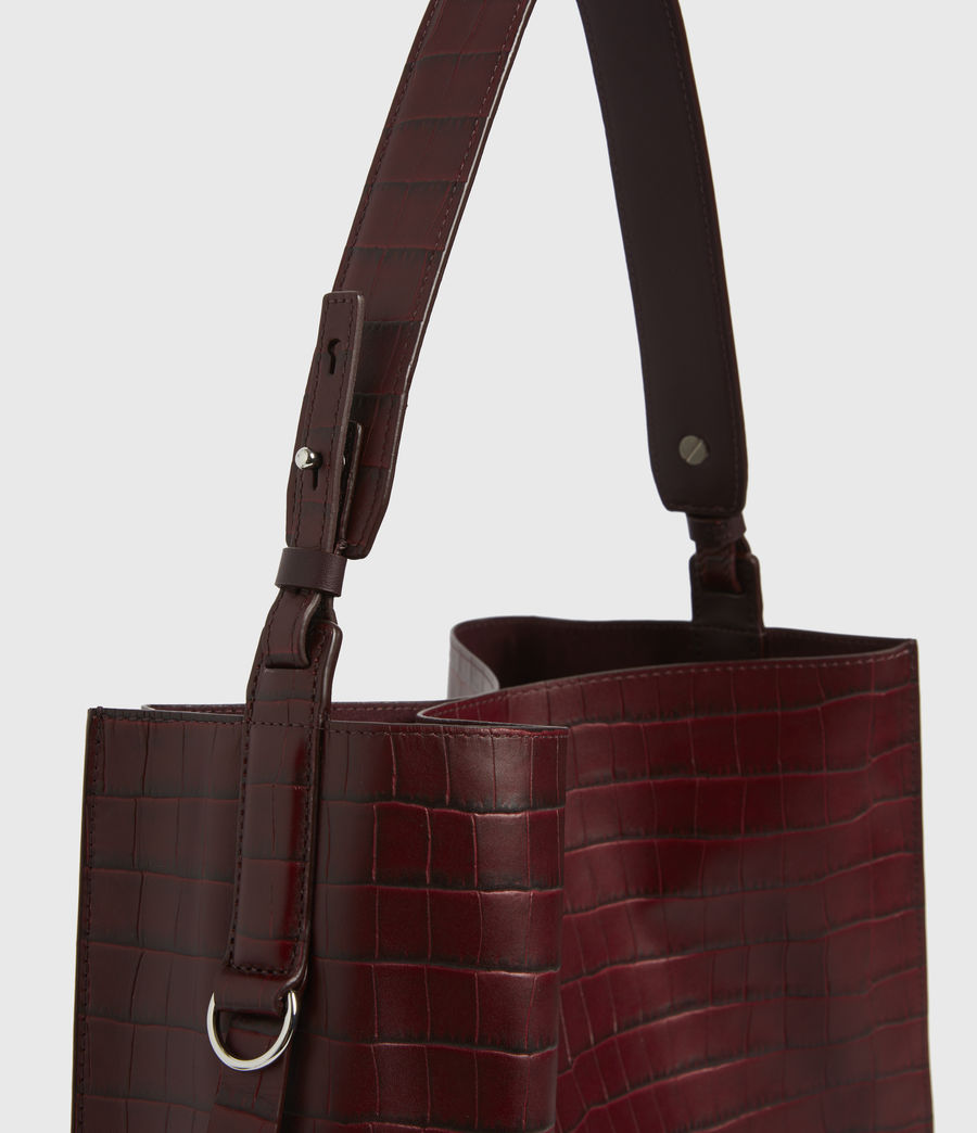 Womens Polly Croc Leather North South Tote Bag (red) - Image 4