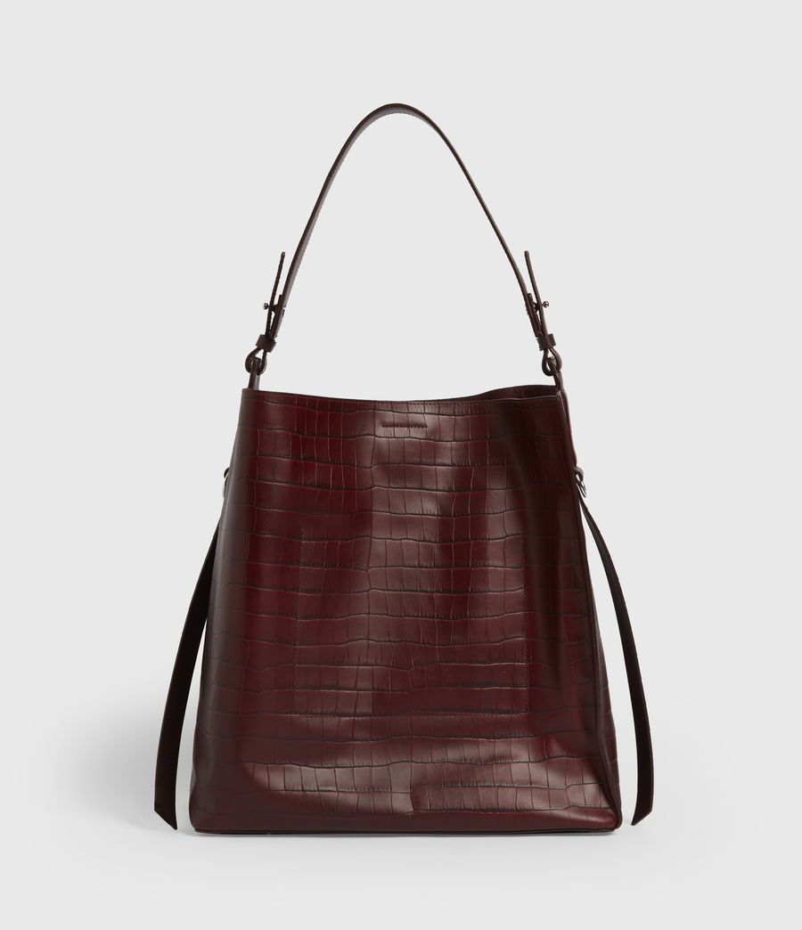 Womens Polly Croc Leather North South Tote Bag (red) - Image 6