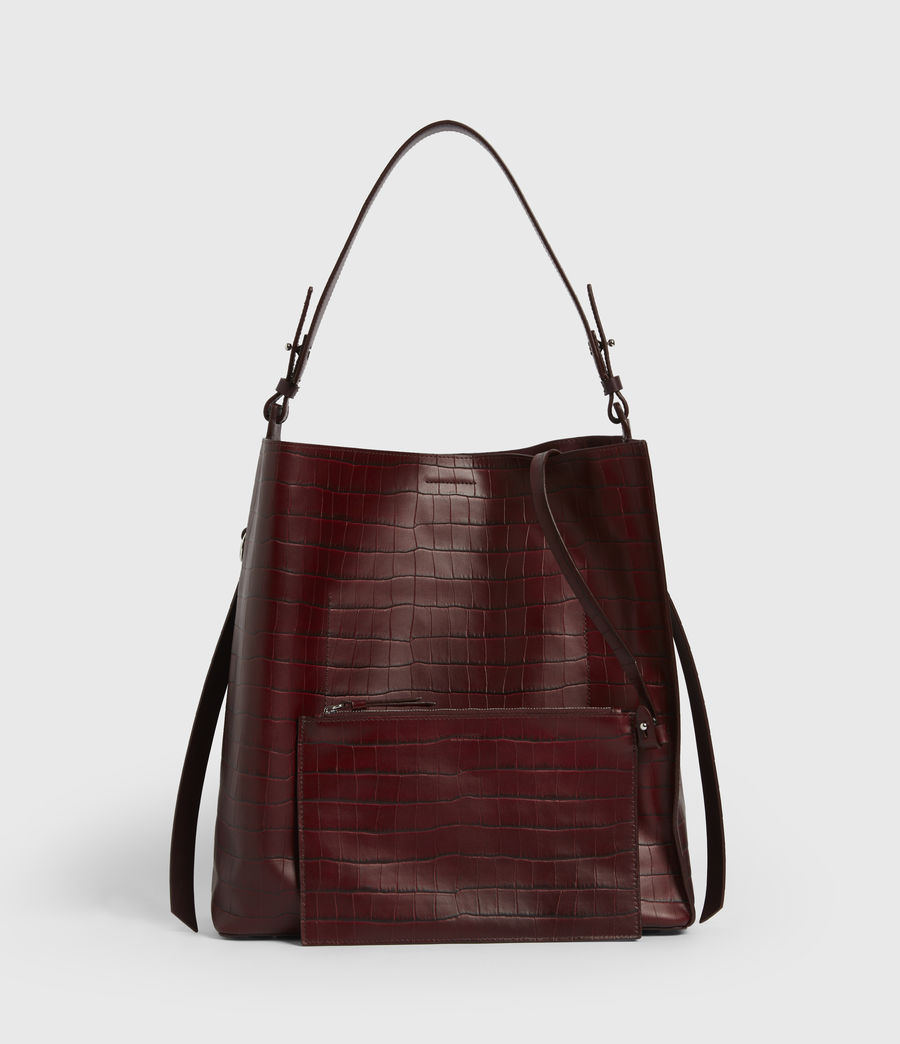 Womens Polly Croc Leather North South Tote Bag (red) - Image 7