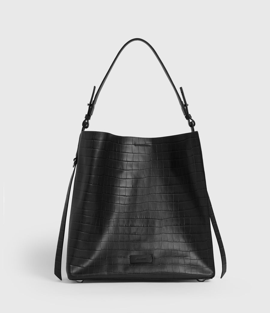 Womens Polly Croc Leather North South Tote Bag (black) - Image 1