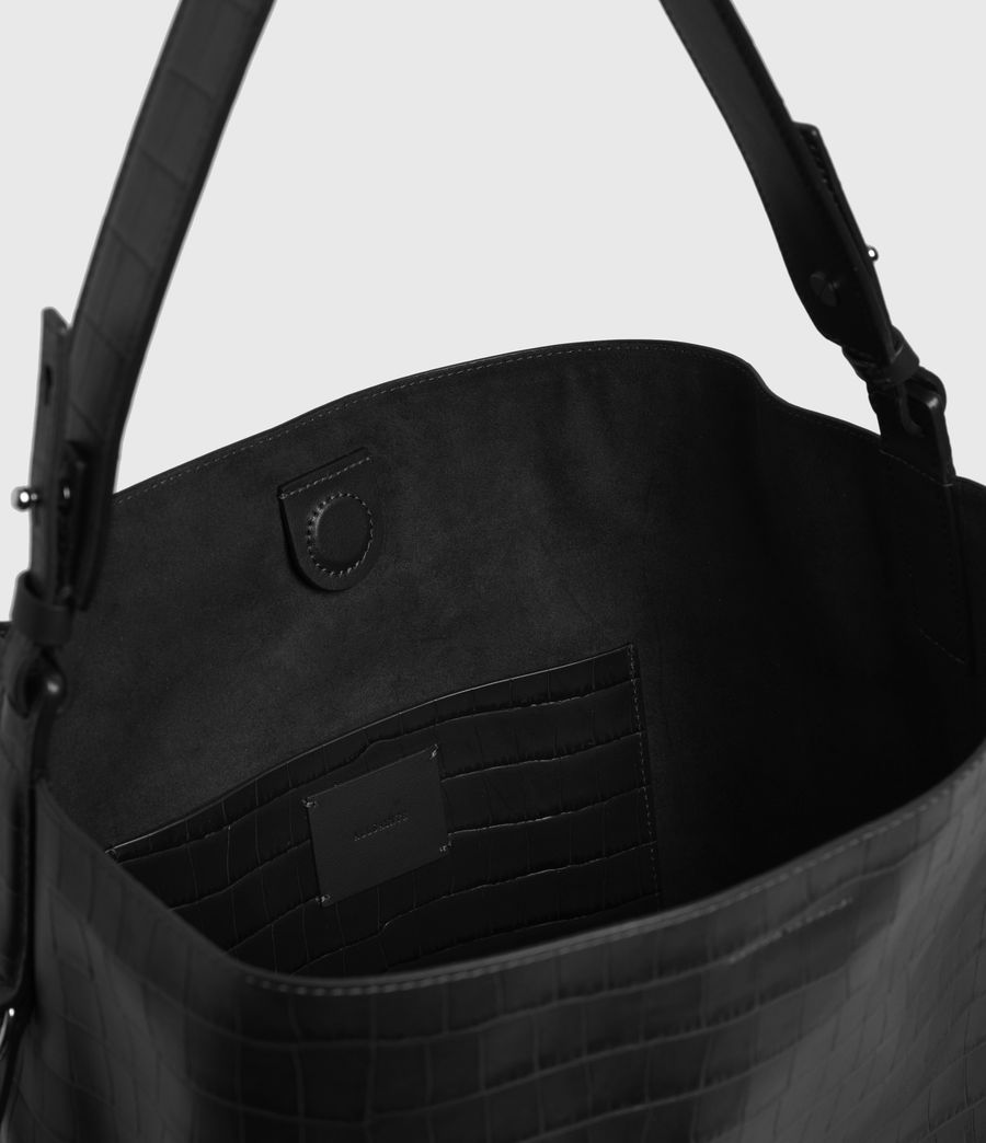 Womens Polly Croc Leather North South Tote Bag (black) - Image 2