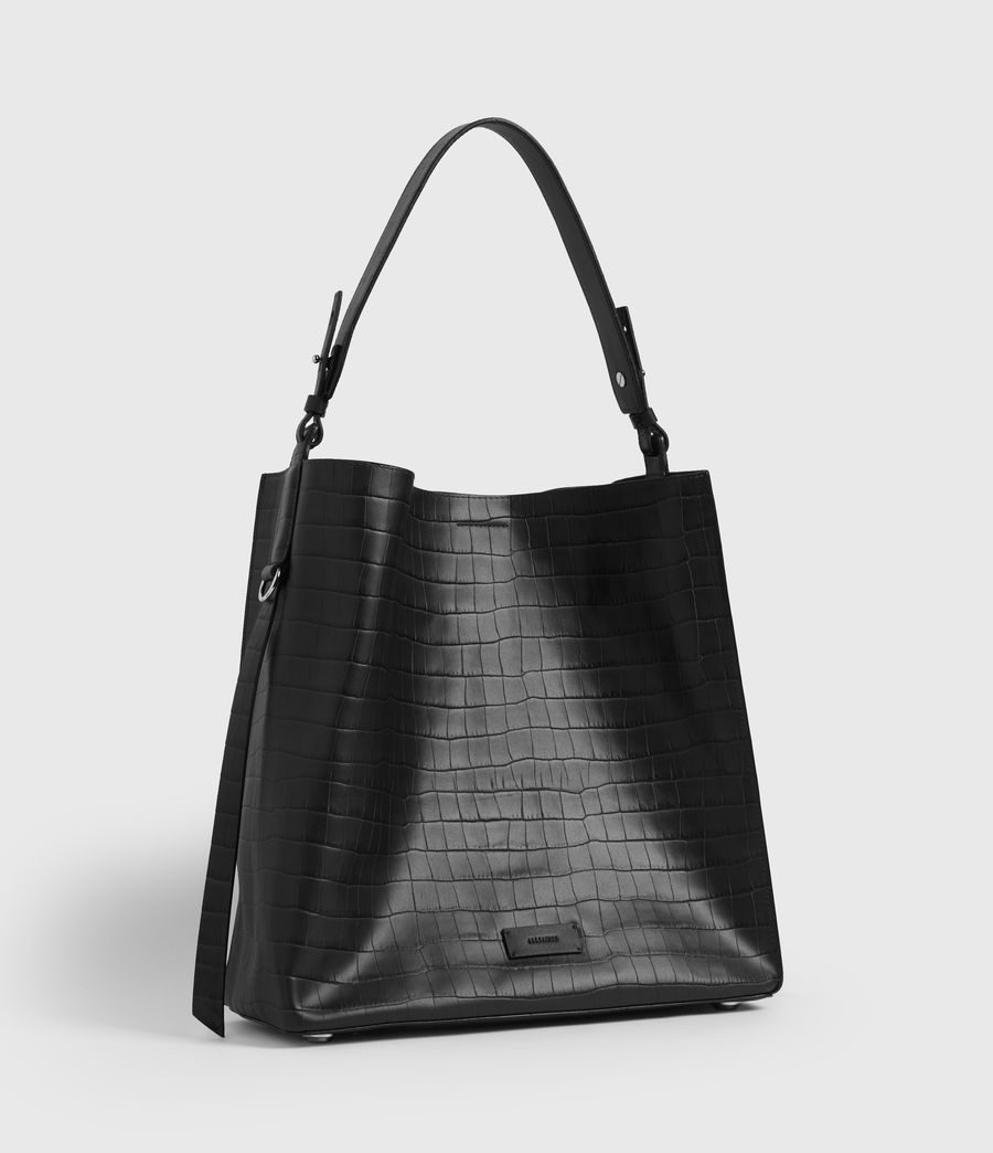 Womens Polly Croc Leather North South Tote Bag (black) - Image 3