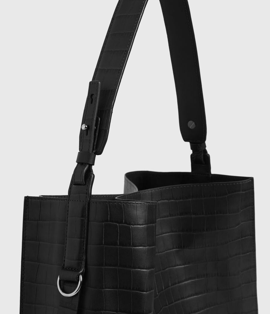 Womens Polly Croc Leather North South Tote Bag (black) - Image 4