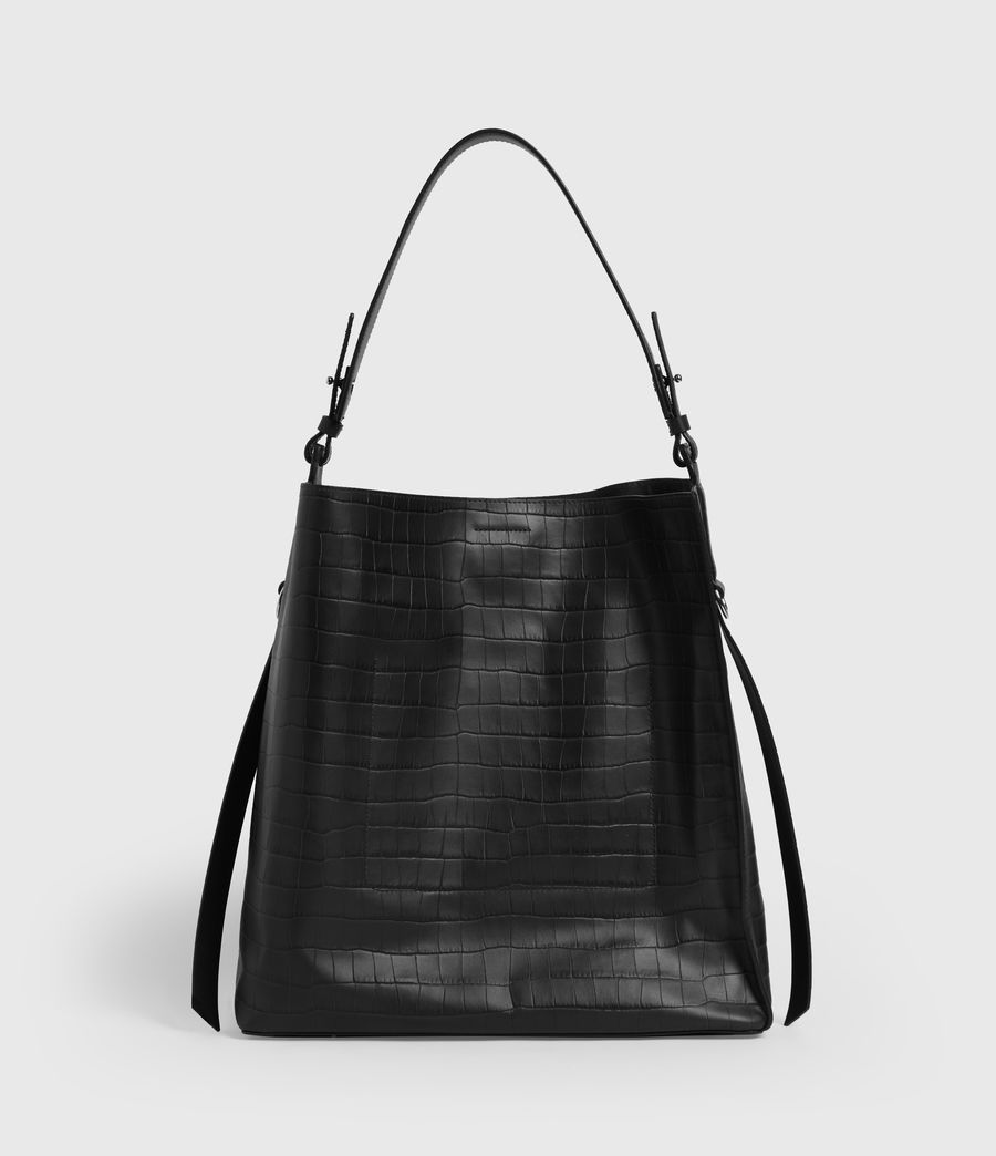 Womens Polly Croc Leather North South Tote Bag (black) - Image 6